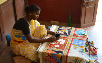 réalisation de kalamkari art indien traditionnel